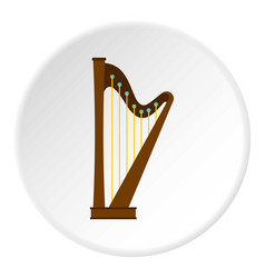 Wooden harp icon circle vector