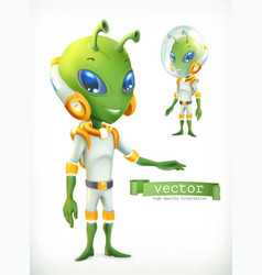 alien in spacesuit funny character icon 3d vector image vector image