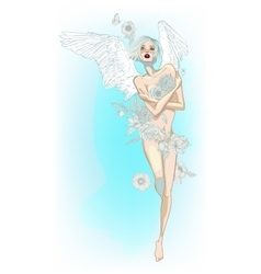 Angel girl with white wings and flowers vector image vector image