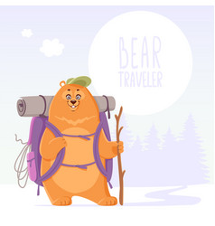 bear traveler adventure vector image vector image