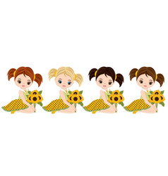 cute little girls with various hair colors vector image vector image
