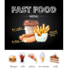 Fastfood advertising on chalkboard vector image vector image