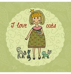 i love cats vector image