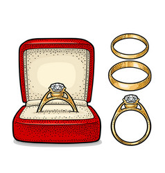 wedding ring with diamond in a gift box vintage vector image