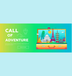 call of adventure - line travel web banner vector image vector image