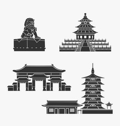 chinese historical buildings symbol set vector image vector image