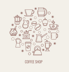 coffee thin line icons set in a circle vector image
