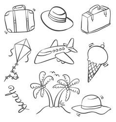 Doodle of summer equipment art vector