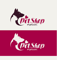 pet shop or veterinary clinic logo animals dog vector image