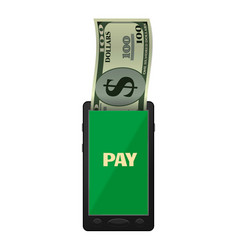 smartphone pay icon realistic style vector image