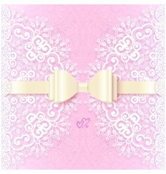 Vintage wedding card template with white bow vector image vector image