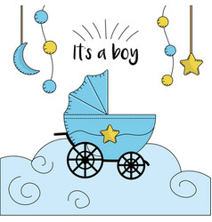 Baby shower card to welcome a boy vector