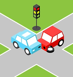 Car accident isometric vector