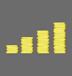 coins stack gold money icon flat design vector image vector image