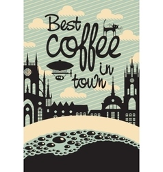 cup of coffee and the old town vector image