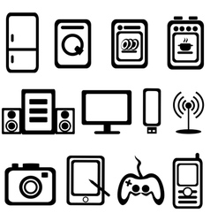 Electric goods of household appliance icons set vector