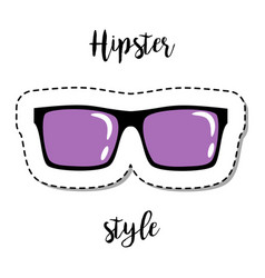 fashion patch element hipster sunglasses vector image