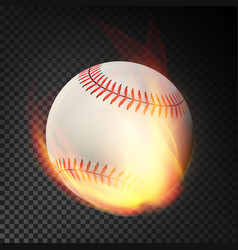 flaming realistic baseball ball on fire flying vector image