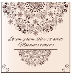 Greeting card with flowers ornament on the sandy vector image
