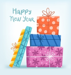 Happy New year greeting with gift boxes vector image