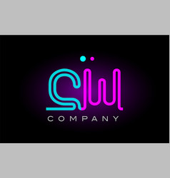 neon lights alphabet cw c w letter logo icon vector image vector image