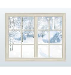 winter window vector image vector image