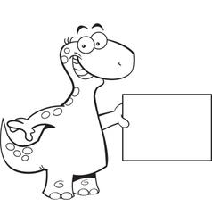 Cartoon brontosaurus holding a sign vector image