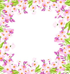 Frame with pink flowers vector image vector image
