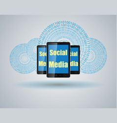 mobile phone and computer cloud vector image
