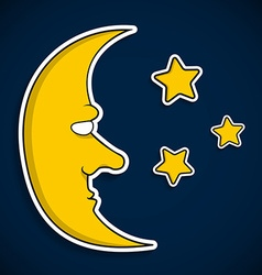 Moon with face and stars vector image