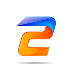 Number two 2 logo orange and blue color with fast vector image vector image