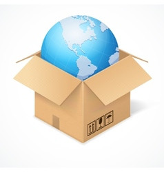 Opened cardboard box and globe isolated on white vector image