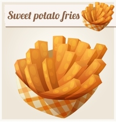 Sweet potato fries in paper box Detailed vector image vector image