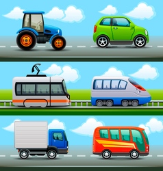 transport icons on the road vector image vector image