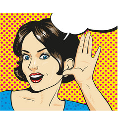 woman with surprised face listening to a whisper vector image vector image