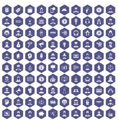 100 headhunter icons hexagon purple vector