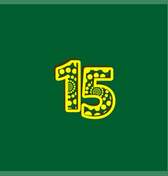 15 anniversary celebration bubble yellow number vector