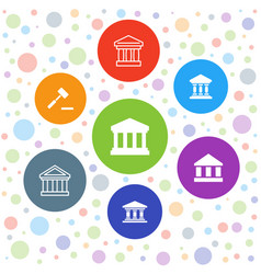 7 courthouse icons vector