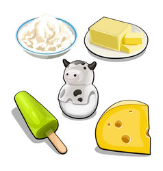 a set of items and food on the theme of cows milk vector image