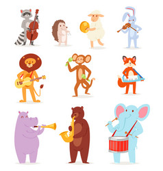 Animal music animalistic character musician vector