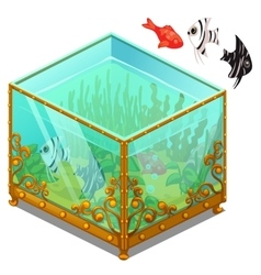 Aquarium with Golden patterns and exotic fish vector