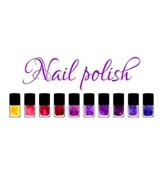 Background with watercolor painted nail polishes vector image