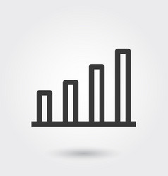 bar chart business line icon with shadow vector image