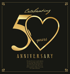 Black and gold anniversary background 50 years vector