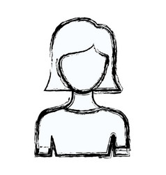 Blurred silhouette faceless half body young woman vector