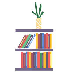 Bookshelf with books and vase with plant on white vector