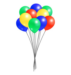 bunch helium colorful air balloons isolated vector image