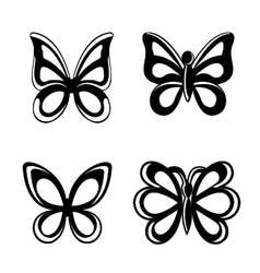 Butterfly silhouette isolated on white backgroun vector image