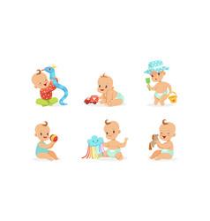 Cartoon babies with toys on a vector