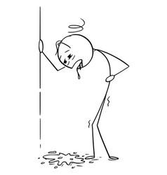 Cartoon drunk or drunken or sick man vomit or vector